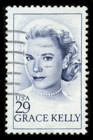 postal office: USA - CIRCA 1982: A stamp printed in USA shows image portrait Grace Patricia Kelly (November 12, 1929 – September 14, 1982) was an American Academy Award-winning actress and Princess consort of Monaco, circa 1982. Editorial