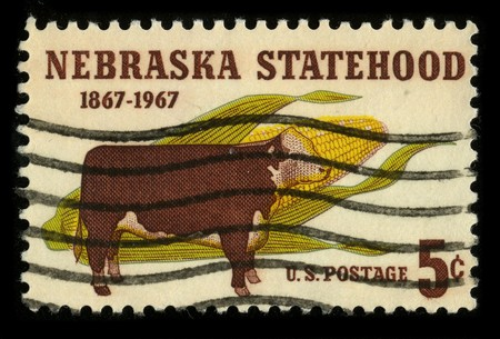 statehood: USA - CIRCA 1967: A stamp printed in USA shows image of the dedicated to the Nebraska Statehood circa 1967. Editorial