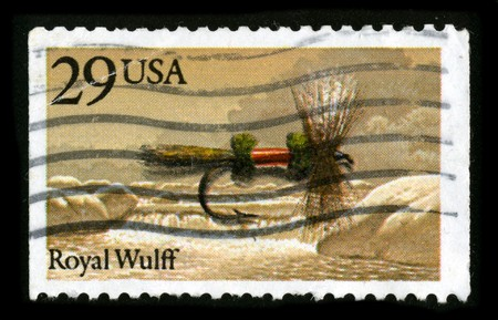 mediaval: USA - CIRCA 1980: A stamp printed in USA shows image of the dedicated to the Fishing Royal Wulff circa 1980.