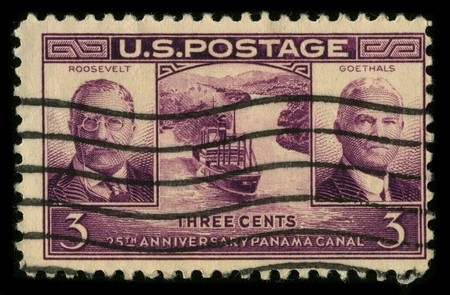 mediaval: USA - CIRCA 1930: A stamp printed in USA shows image of the dedicated to the 25th Anniversary Panama Canal circa 1930. Editorial