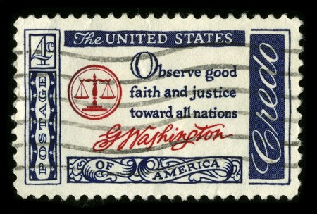USA - CIRCA 1980: A stamp printed in USA shows image of the dedicated to the American Justice circa 1980. Stock Photo - 7840461
