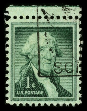 USA - CIRCA 1932: A stamp printed in USA shows image portrait George Washington (1732�1799), was the first president of the United States (1789�1797), circa 1932. Stock Photo - 7840462