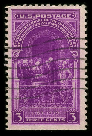 USA - CIRCA 1939: A stamp printed in USA shows image of the dedicated to the Sesouicentennial of the Inauguration of Washington As First President circa 1939. Stock Photo - 7840464