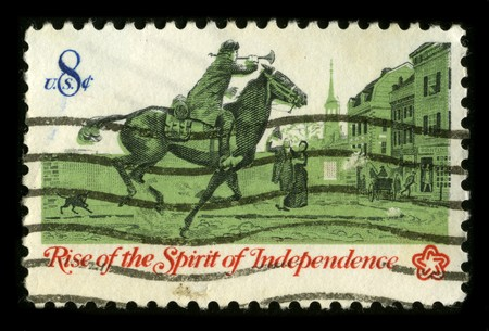 USA - CIRCA 1973: A stamp printed in USA shows image of the dedicated to the Rise of the Spirit of Independence circa 1973. Stock Photo - 7840470