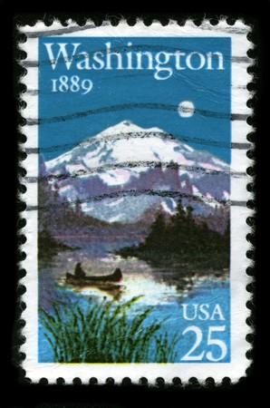 USA - CIRCA 1989: A stamp printed in USA shows image of the dedicated to the State Washington circa 1989. Stock Photo - 7840472