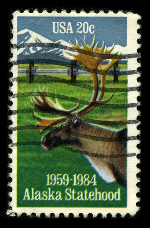 mediaval: USA - CIRCA 1984: A stamp printed in USA shows image of the dedicated to the Alaska Statehood circa 1984.