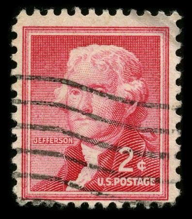 mediaval: USA - CIRCA 1930: A stamp printed in USA shows image portrait Thomas Jefferson (April 13, 1743 � July 4, 1826) was the third President of the United States (1801�1809), circa 1930.