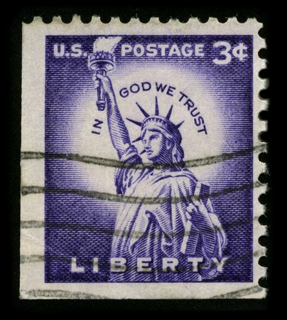 enlightening: USA - CIRCA 1930: A stamp printed in USA shows image of the dedicated to The Statue of Liberty (Liberty Enlightening the World) circa 1930.
