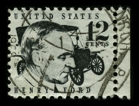 founder: USA - CIRCA 1975: A stamp printed in USA shows image portrait Henry Ford (July 30, 1863 – April 7, 1947) was an American industrialist, founder of the Ford Motor Company, circa 1975. Editorial