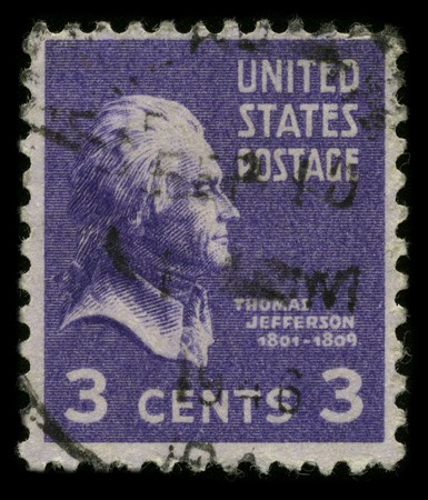 USA - CIRCA 1946: A stamp printed in USA shows image portrait Thomas Jefferson (April 13, 1743 - July 4, 1826) was the third President of the United States (1801–1809), circa 1946. Stock Photo - 7840486