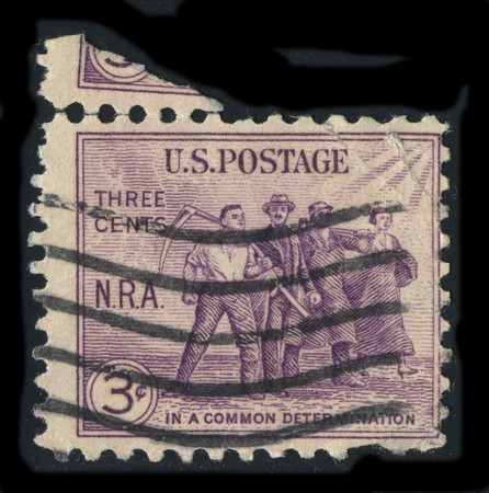 USA - CIRCA 1930: A stamp printed in USA shows image of the dedicated to the In A Common Determination circa 1930. Stock Photo - 7840489