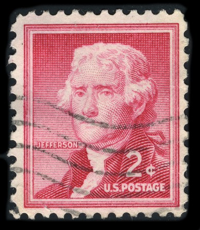 USA - CIRCA 1930: A stamp printed in USA shows image portrait Thomas Jefferson (April 13, 1743 � July 4, 1826) was the third President of the United States (1801�1809), circa 1930. Stock Photo - 7840491