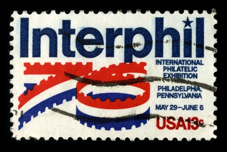 mediaval: USA - CIRCA 1980: A stamp printed in USA shows image of the dedicated to the Interphil - Iternational Philatelic Exhibition circa 1980.