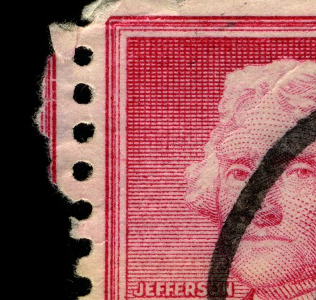 USA - CIRCA 1930: Part of a stamp printed in USA shows image portrait Thomas Jefferson (April 13, 1743 � July 4, 1826) was the third President of the United States (1801�1809), circa 1930.