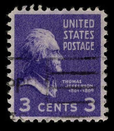 USA - CIRCA 1946: A stamp printed in USA shows image portrait Thomas Jefferson (April 13, 1743 � July 4, 1826) was the third President of the United States (1801�1809), in lilac, circa 1946. Stock Photo - 7840498