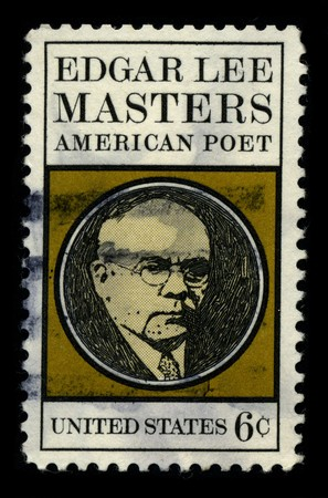 biographer: USA - CIRCA 1970: A stamp printed in USA shows image portrait Edgar Lee Masters (Garnett, Kansas, August 23, 1868 - Melrose Park, Pennsylvania, March 5, 1950) was an American poet circa 1970.