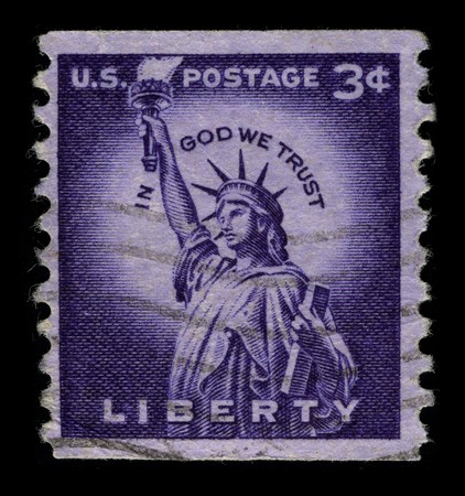 mediaval: USA - CIRCA 1930: A stamp printed in USA shows image of the dedicated to The Statue of Liberty (Liberty Enlightening the World) circa 1930.
