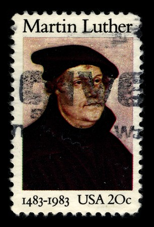 USA - CIRCA 1983: A stamp printed in USA shows image portrait Martin Luther (10 November 1483 � 18 February 1546) was a German priest and professor of theology who initiated the Protestant Reformation, circa 1983.