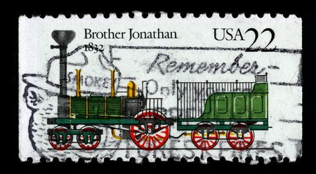 USA - CIRCA 1987: A stamp printed in USA shows image of the dedicated to the Locomotive Brothers Jonathan circa 1987. Stock Photo - 7840516