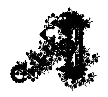 luxuriously: Luxuriously illustrated old capital letter A from flowers