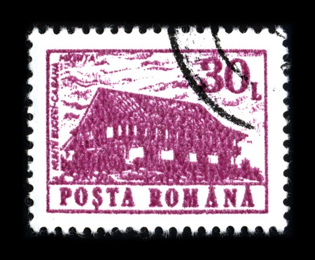 ROMANIA - CIRCA 1980: A stamp printed in ROMANIA shows image of the dedicated to the Romanian cabana and monastery circa 1980. Stock Photo - 8150123