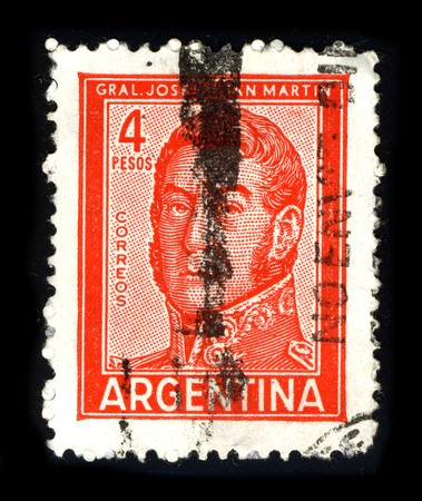 ARGENTINA - CIRCA 1980: A stamp printed in ARGENTINA shows image portrait Jose Francisco de San Martin, also known as Jose de San Martin (c. 1778 � 17 August 1850), was an Argentine general and the prime leader of the southern part of South Americas succ