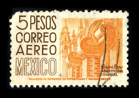 MEXICO - CIRCA 1980: A stamp printed in USA shows image of the dedicated to the Colonial Architecture of Mexico circa 1980.