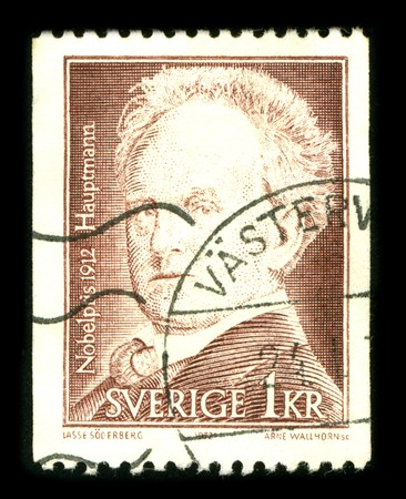 dramatist: SWEDEN - CIRCA 1986: A stamp printed in SWEDEN shows image portrait Gerhart Hauptmann (15 November 1862 - 6 June 1946) was a German dramatist and novelist who received the Nobel Prize in Literature in 1912, circa 1986. Editorial