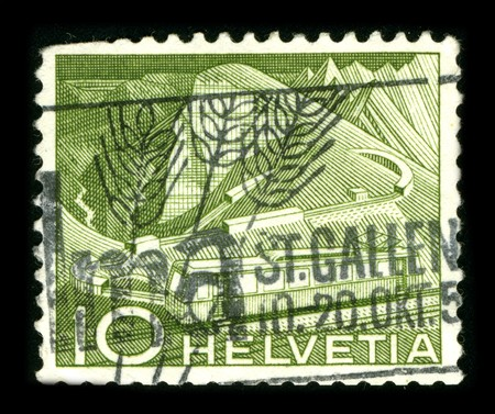 helvetia: Switzerland - CIRCA 1950: A stamp printed in Switzerland shows image of the dedicated to the Helvetia is the female national personification of Switzerland, officially Conf?deratio Helvetica, the Helvetic Confederation circa 1950.