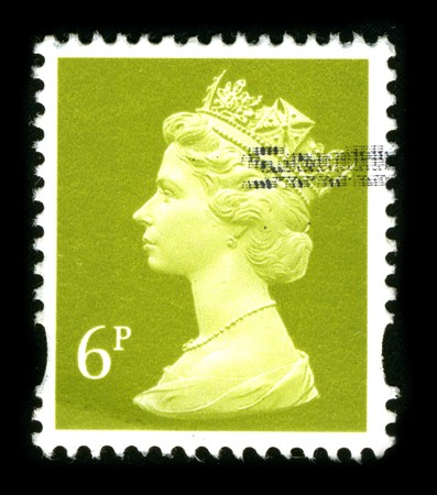 UNITED KINGDOM - CIRCA 1990: An English Used First Class Postage Stamp showing Portrait of Queen Elizabeth in gold circa 1990.