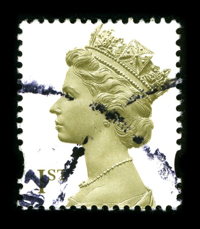 UNITED KINGDOM - CIRCA 2000: An English Used First Class Postage Stamp showing Portrait of Queen Elizabeth in gold circa 2000. Stock Photo - 8150153