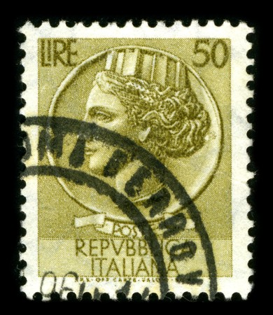 ITALIA - CIRCA 1959: A stamp printed in ITALIA shows image of the dedicated to the Republica Italiana circa 1959. Stock Photo - 8150175