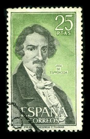 philately: SPAIN - CIRCA 1980: A stamp printed in SPAIN shows image portrait Jose Ignacio Javier Oriol Encarnacion de Espronceda y Delgado (March 25, 1808 - May 23, 1842) was a famous Romantic Spanish poet, circa 1980. Editorial