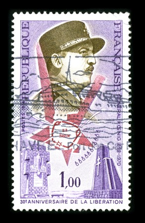 commanded: FRANCE - CIRCA 1970: A stamp printed in FRANCE shows image portrait Marie Pierre K?nig  was a French army officer and politician. He commanded a Free French Brigade at the Battle of Bir Hakeim in North Africa in 1942, circa 1970.