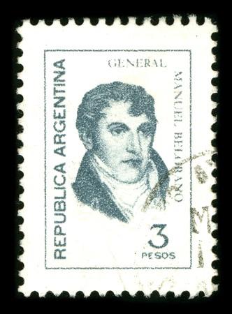 corazon: ARGENTINA - CIRCA 1980: A stamp printed in ARGENTINA shows image portrait Manuel Jose Joaquin del Corazon de Jesus Belgrano, usually referred to as Manuel Belgrano was an Argentine economist, lawyer, politician, and military leader, circa 1980.
