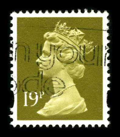 UNITED KINGDOM - CIRCA 1990: An English Used First Class Postage Stamp showing Portrait of Queen Elizabeth in gold circa 1990. Stock Photo - 8150162