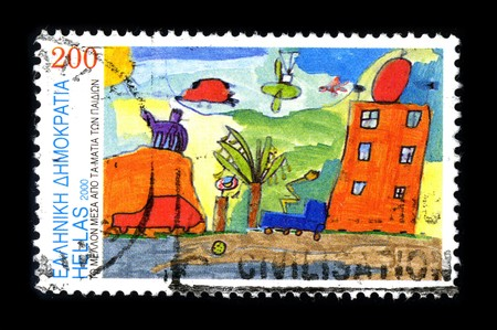 Greece - CIRCA 2000: A stamp printed in Greece shows image of the dedicated to the Child Drawing, circa 2000. Stock Photo - 8322569