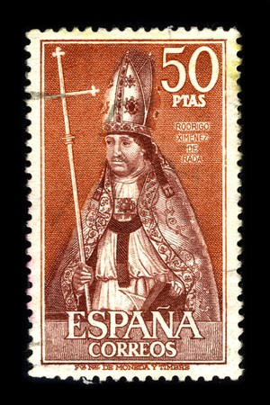 rada: SPAIN - CIRCA 1970: A stamp printed in SPAIN shows image portrait Rodrigo Jimenez (or Ximenez) de Rada was a Navarrese-born Castilian Roman Catholic bishop and historian, circa 1970.