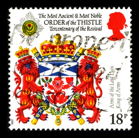 UNITED KINGDOM - CIRCA 1987: A stamp printed in UNITED KINGDOM shows image of the dedicated to the Arms Of The Lord Lyon King Of Arms,  circa 1987. Stock Photo - 8150171