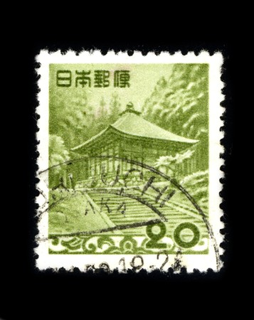 JAPAN - CIRCA 1980: A stamp printed in JAPAN shows image of the dedicated to the Japanese temple, circa 1980. Stock Photo - 8150156