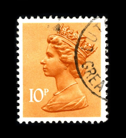 queen elizabeth: UNITED KINGDOM - CIRCA 1990: An English Used First Class Postage Stamp showing Portrait of Queen Elizabeth in orange circa 1990.