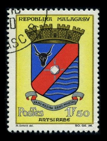 MADAGASCAR - CIRCA 1980: A stamp printed in MADAGASCAR shows image of the dedicated to the Madagascar, or Republic of Madagascar, is an island nation in the Indian Ocean off the southeastern coast of Africa, circa 1980. Stock Photo - 8322663