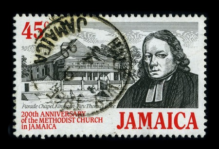dedicated: JAMAICA - CIRCA 1999: A stamp printed in JAMAICA shows image of the dedicated to the 200th Anniversary Of The Methodist Church in Jamaica, circa 1999.