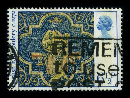 UNITED KINGDOM - CIRCA 1972: A stamp printed in UNITED KINGDOM shows image of the dedicated to the English embroidery includes embroidery worked in England or by English people abroad from Anglo-Saxon times to the present day, circa 1972.
