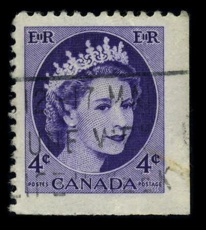 CANADA - CIRCA 1954: Postage Stamp showing Portrait of Queen Elizabeth in lilac, circa 1954.