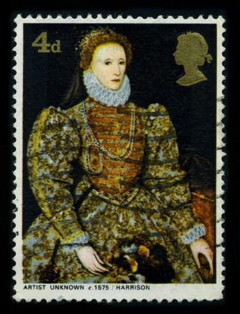 UNITED KINGDOM-CIRCA 1980: A stamp of the dedicated to the Elizabeth I (7 September 1533 � 24 March 1603) was Queen regnant of England and Queen regnant of Ireland from 17 November 1558 until her death, circa 1980.