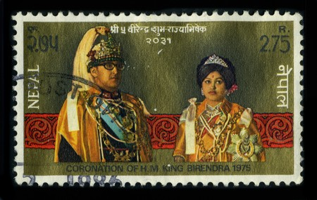 NEPAL - CIRCA 1986: A stamp printed in NEPAL shows image of the dedicated to the Coronation Birendra Bir Bikram Shah Dev (28 December 1945 � 1 June 2001) was a King of Nepal, circa 1986. Editorial