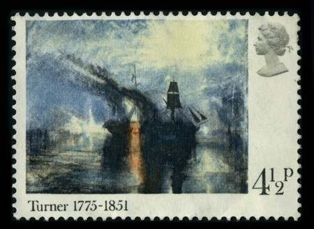 printmaker: UNITED KINGDOM - CIRCA 1951: A stamp of the dedicated to the Joseph Mallord William Turner (23 April 1775 - 19 December 1851) was an English Romantic landscape painter, watercolourist and printmaker, circa 1951. Editorial
