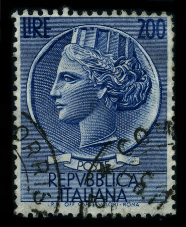 postal office: ITALY - CIRCA 1959: A stamp printed in ITALY shows image of the dedicated to the Republica Italiana circa 1959.