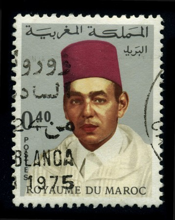 MOROCCO - CIRCA 1975: A stamp shows image of the portrait King Hassan II (July 9, 1929�July 23, 1999) was King of Morocco from 1961 until his death in 1999, circa 1975.